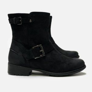 Clarks Plaza Float Distressed Suede Moto Boot 8